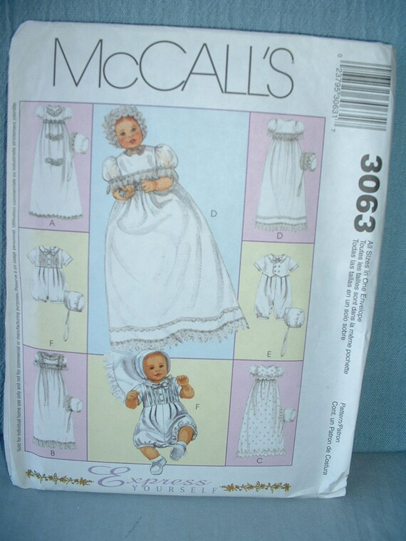 McCalls Sewing for Baby Pattern 3063 - Christening Gowns, Rompers & Bonnets