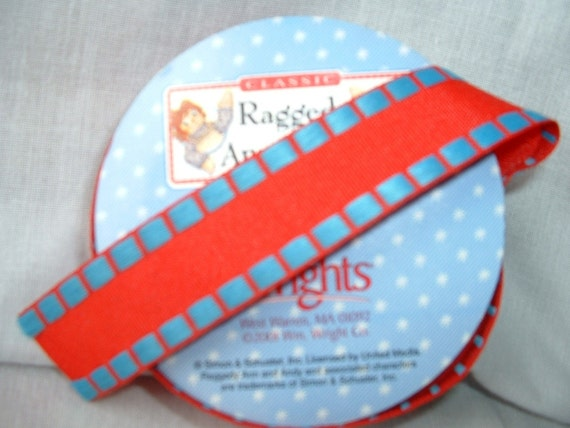 Raggedy Ann\/Andy Border Check Red\/Blue Trim - Wrights 2001 - 1 Yard