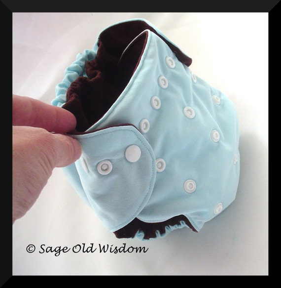 One size pocket diaper with PUL, adjustable legs and rise