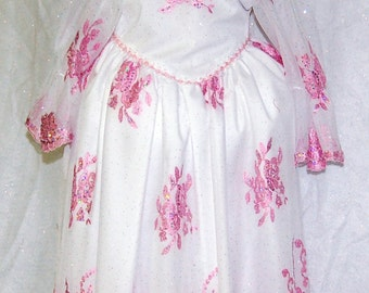 Pink and White off the shoulder dress with sheer overlay  Size 5