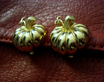 Gold Pumkin Fall Clip on Earrings