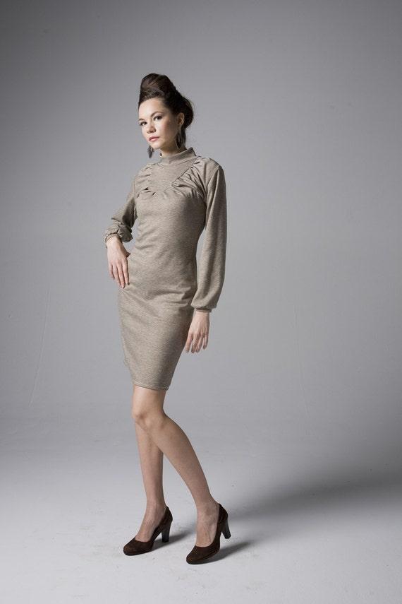 Delicately Pleated Turtleneck Warm Jersey Winter / Fall Dress