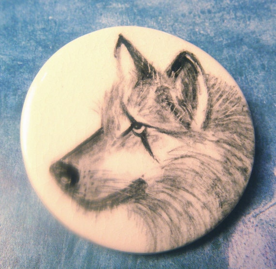 Button Wolf Ceramic Pottery Studio ANIMAL CHARITY DONATION