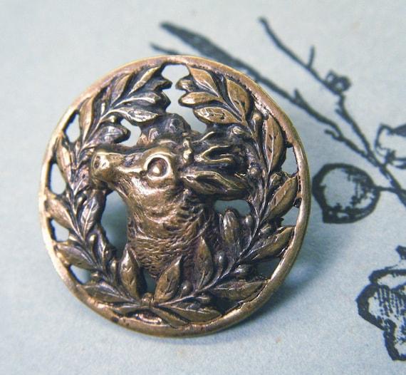 Deer Button Victorian Metal Gold Openwork ANIMAL CHARITY DONATION