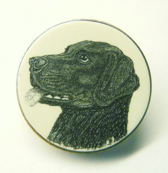 Button Dog Vintage Scrimshaw Black Lab on Polymer Plastic by Barclay ANIMAL CHARITY DONATION