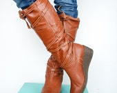Vintage Uruguayan Boots with the Fluff...Womens Size 7 or 7 1/2, 7.5