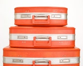 Reserved for Anna Swanson Vintage Red Orange Luggage, Set of 3 Suitcases