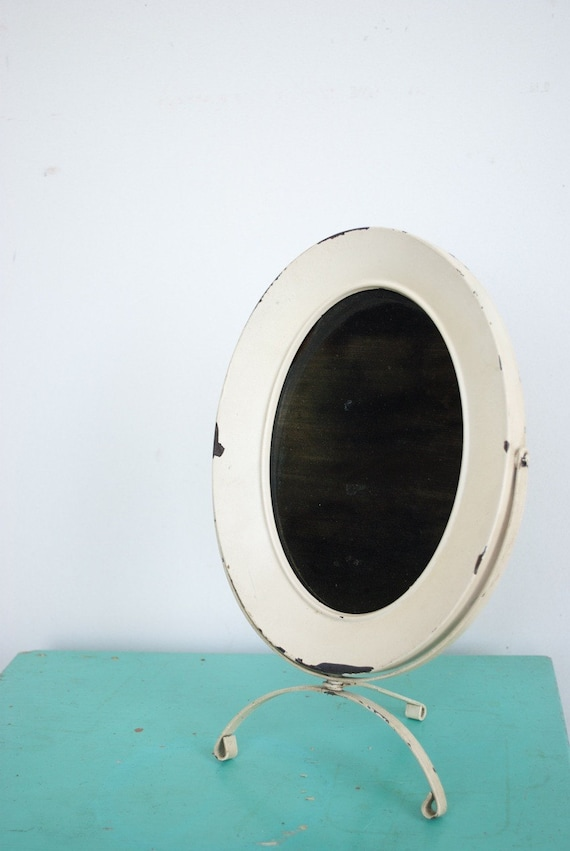 InVeNtOrY Sale...Vintage Cream Distressed Stand Alone Mirror...Price Reduced.