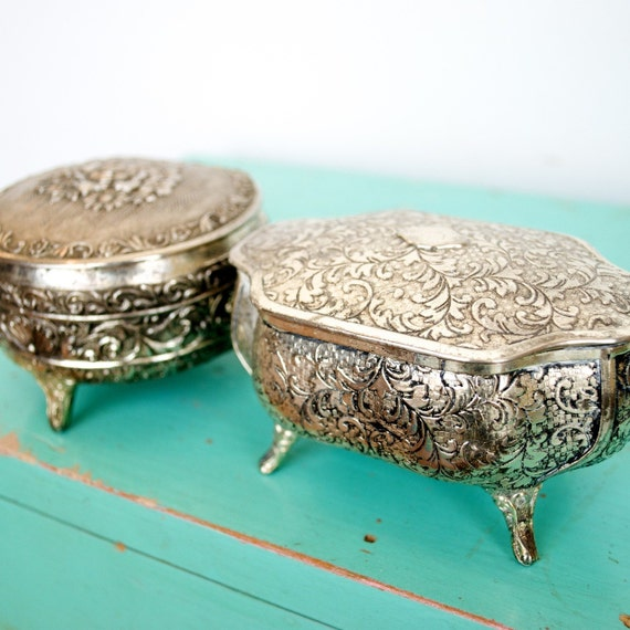 RESERVED JUST FOR xoxLoveRachel...Vintage Silver Tin Set of 2