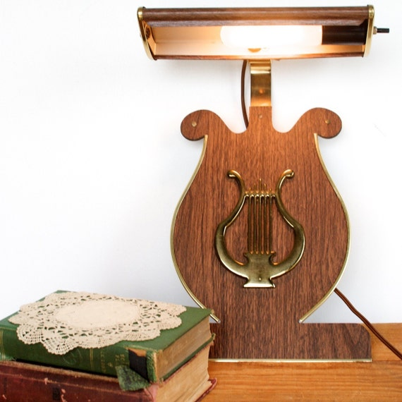 Vintage Lyre Lamp for Piano Top