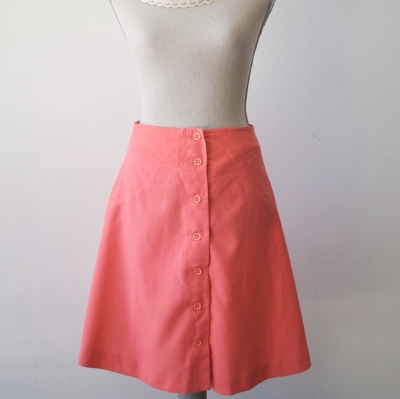 Vintage A Frame Skirt in Sweet Salmon...Womens Extra Small or Small