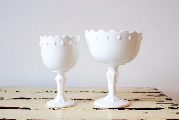 Vintage Milk Glass Pedestal Bowls, Set of Two