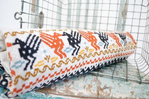 Vintage Tribal Linen Tablecloth / Rectangular / Turquoise, Orange, Yellow, Black, and Cream
