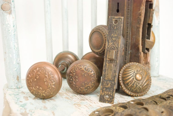 Antique Copper Door Knobs, Face Plates, and Lock Case / Set of 20 / Salvaged 19th Century