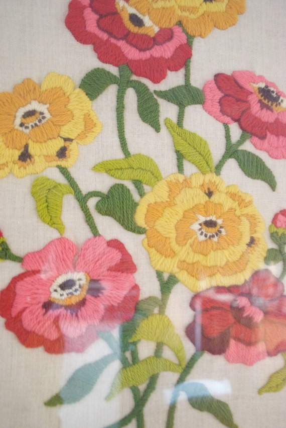 Vintage Crewel Embroidery / Yellow, Coral, and Fuschia Bouquet