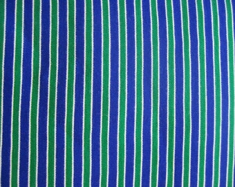 Vintage Blue and green stripes, vintage fabric, vintage material, doubleknit, polyester, ticking stripes, jersey knit, yardage