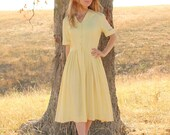 RESERVED Vintage 1950s Summer Day Dress in Yellow Plaid w Sailor Collar . Mad Men . Womens Large