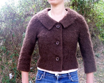 Vintage 50s CROP JACKET S Mocha Brown Mohair