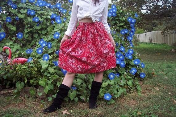 Vintage 50s Skirt Red BANDANA Print Size 0 2 XS Rockabilly Hippie