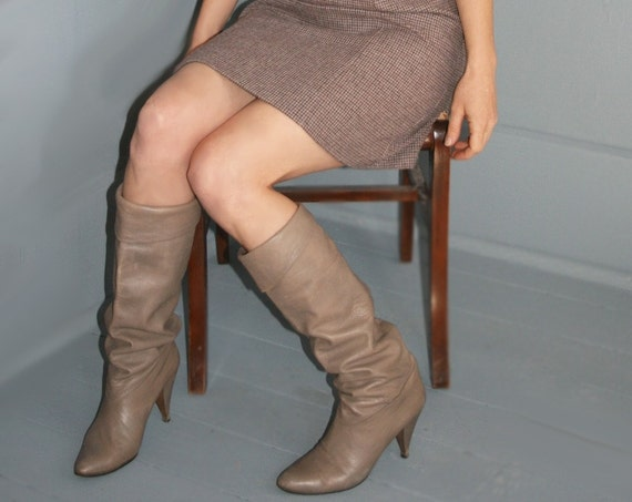 Tall Taupe Leather Boots Boots 8 1/2 9 Taupe Tall