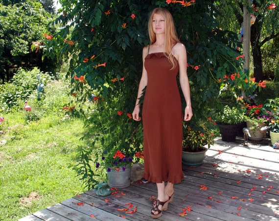 CHOCOLATE KISSES Vintage Bohemian Hippie Gauze Sundress Small Medium 4 6