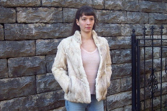 Vintage 1970s RABBIT Fur Coat  S BOHO