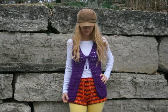 Vintage 70s Crocheted ITALIAN Wool Vest S M - Hippie - Boho