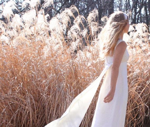 Vintage 1960s Wedding Dress Empire Waist Long Full Length Sleeveless XS
