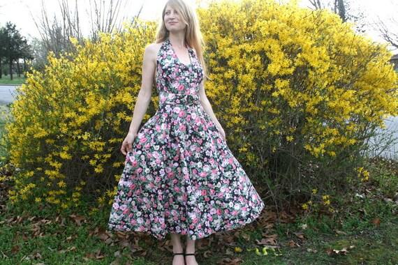Vintage 80s HALTER DRESS 50s Style Floral Polished Cotton L