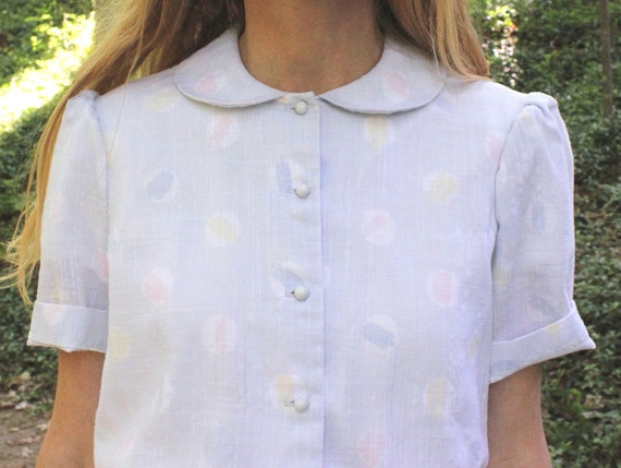 Vintage 1950s Day Dress Peter Pan Collar Retro Shirtwaist Style Small to Medium