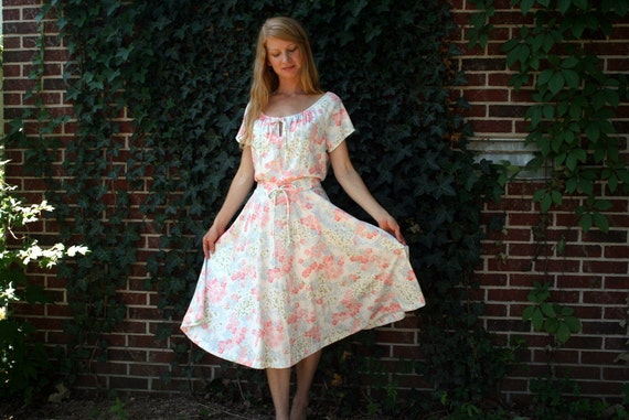 Vintage 70's Jersey FLORAL Peasant Dress L