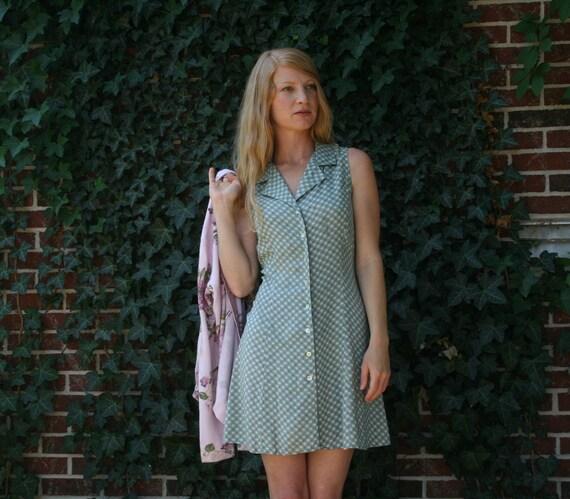 Vintage 80s 90s Mini Dress - Rayon - Green Floral - Small/Medium