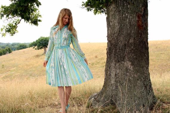 Vintage 50s 60s DAY DRESS Floral Stripes Medium 10 12 Belted Shirtwaist - Betty Draper - Mad Men