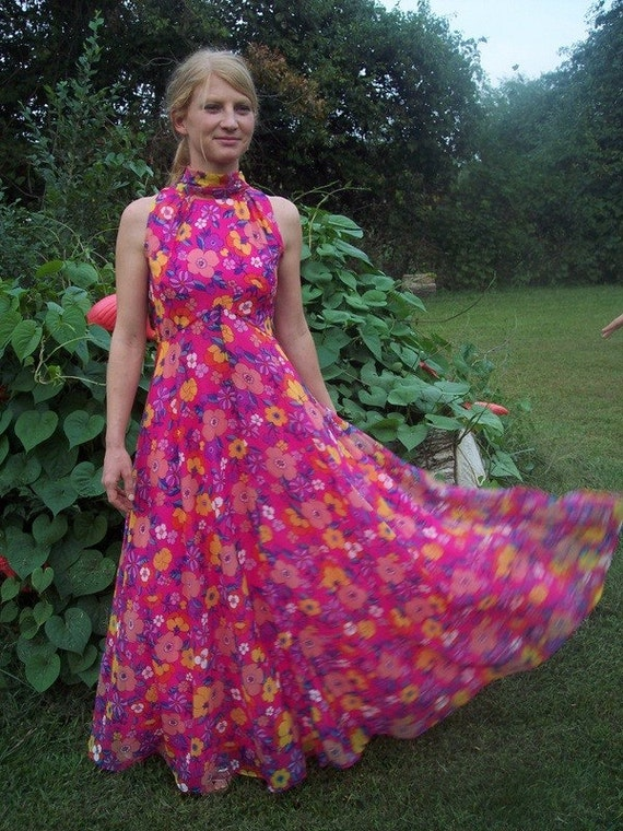 RESERVED for River....Please do not buy - Vintage 70s MAXI Chiffon Formal  PRINT Gown S 4/6