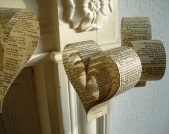 Paper Christmas Tree Decorations Shakespearean Hearts