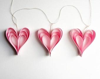 Valentine's Day Pink Heart Decorations Garland Wedding Decor Cottage Chic Paper