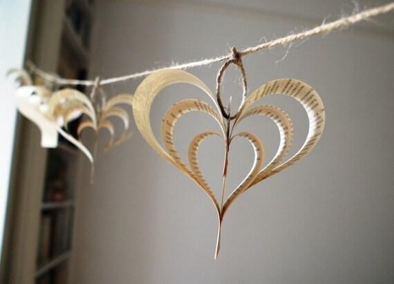Heart garland, Valentine, altered book garland, heart decoration