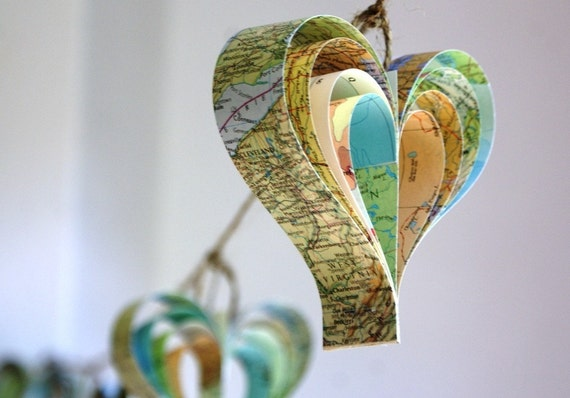 Personalised map garland - string of hearts