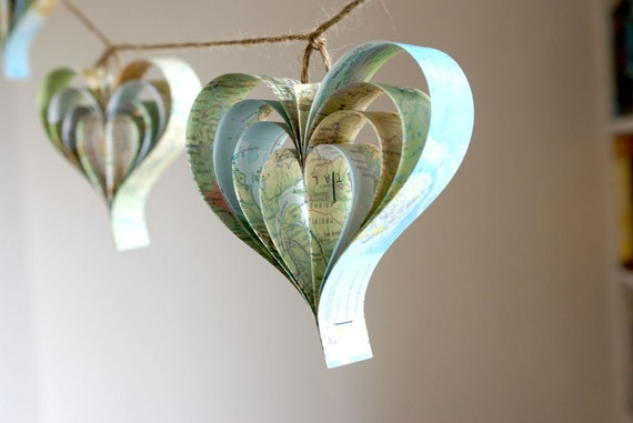 Map Garland, Travel, Journey Themed Bridal Shower Party Idea, Blue Garland, Wedding Decorations