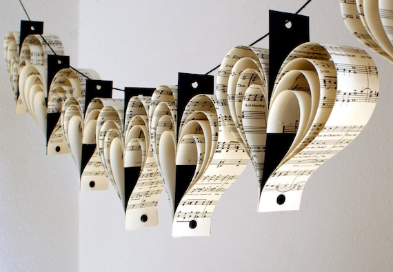 Music recycled paper heart garland in black and white home decor