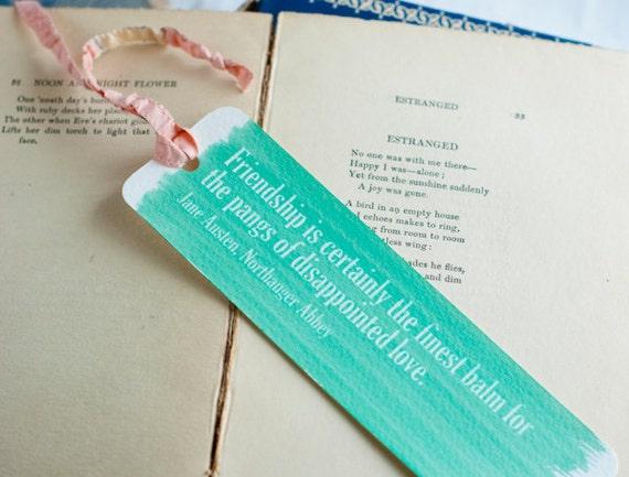 Literary bookmark, Jane Austen, mint green, friendship love quote