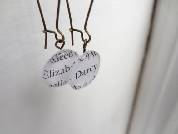 Jane Austen drop earrings, Elizabeth and Darcy, upcycled book pages