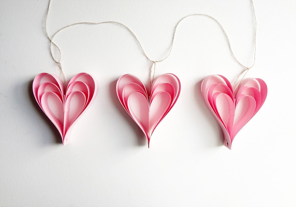 Valentine 39 s day pink heart decorations garland wedding for Heart decoration ideas