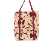 Playful Creature Print Cotton Tote with Magenta Lining