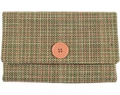Green Plaid Suiting Wallet with Black Lining