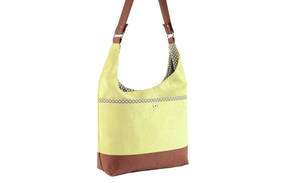 Curved Yellow Green Microsuede Shoulder Bag with Gray Polka Dot Lining
