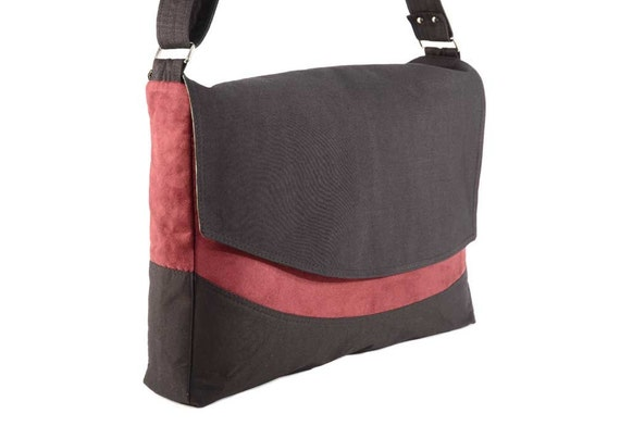 Black and Berry Microsuede Messenger Bag with Green Batik Lining