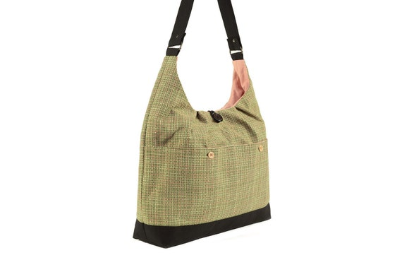 Green Plaid Suiting Shoulder Bag with Pink Lining