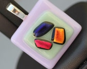 Fused Glass Pendant - Lavendar, Green, Red, and Blue