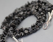 Snowflake Obsidian Necklace  - Black and Gray 2 strand necklace